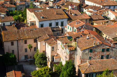 Panorama of Lucca with red roofs and patio Stock Photo