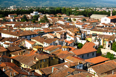 Panorama of Lucca with red roofs