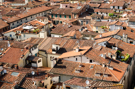 Red roofs of the old town of Lucca. Stock Photo