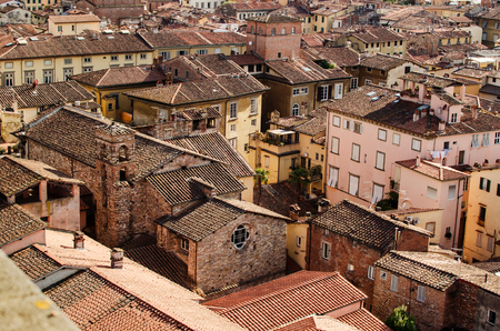 Red roofs of the old town of Lucca