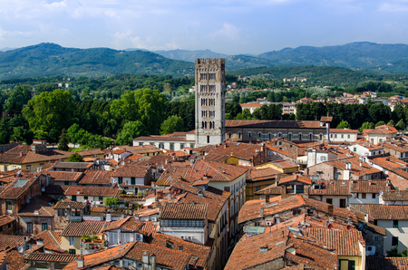 View to the old town of Lucca