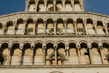 Facade of Lucca cathedral with blu sky Stock Photo