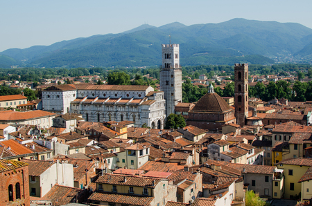 Panorama of Lucca with Lucca cathedral