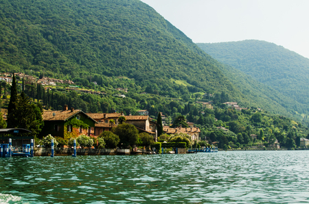 Houses of Sulzano, Iseo lake, Italy 写真素材