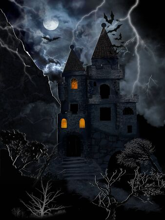 Gothic castle illuminated with  lightnings with bats and moon in dramatic clouds. Digital illustration. Stock Photo
