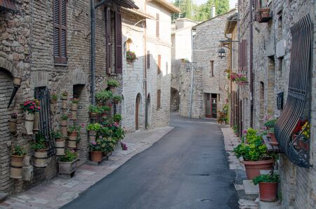 A medieval street of Assisi, province of Perugia, Umbria, Italy.