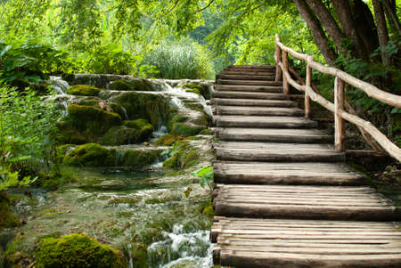 Wooden Bridge and waterfall in Plitvice National Park