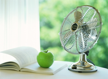 electric fan and apple