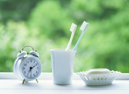 toothbrushes and alarm clock