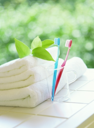 toothbrushes and  towels