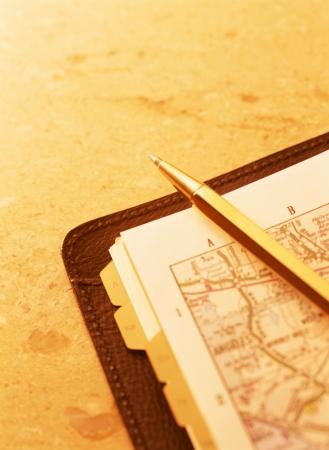 map and pen Фото со стока - 23901859