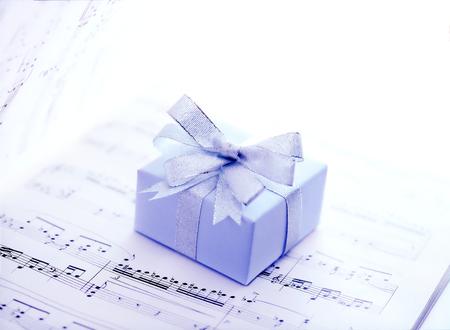 music score: music score and  present Stock Photo