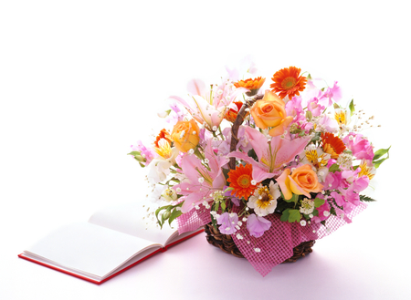 book and arrangement flowers photo