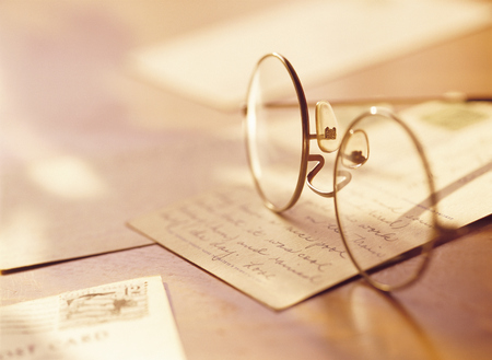 post card: glasses and post card