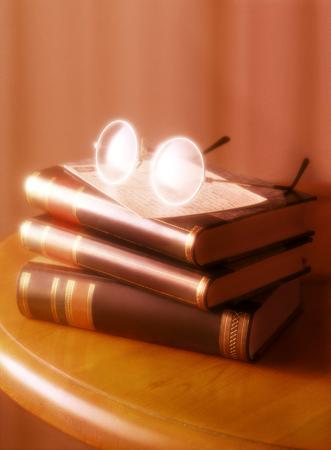 eye glasses and books