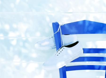 sneakers and  chairs Фото со стока - 30194445
