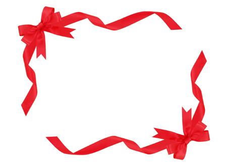 Frame of red ribbon 写真素材