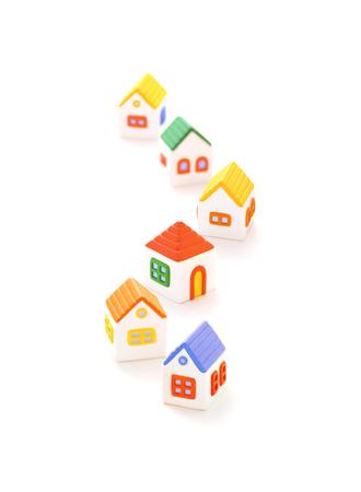 dollhouse: Six Model houses Stock Photo