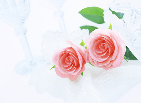 wine glasses: glass and roses Stock Photo
