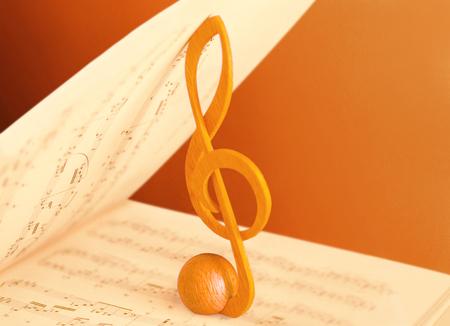 musical score: treble clef and music score Stock Photo