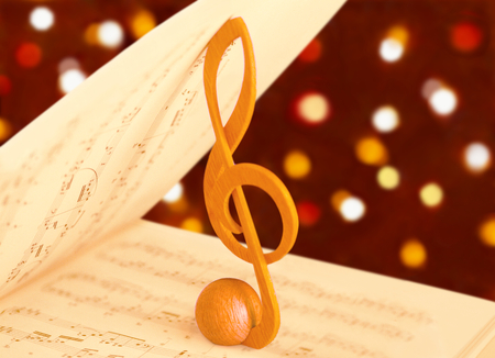 music notes: treble clef and music score Stock Photo