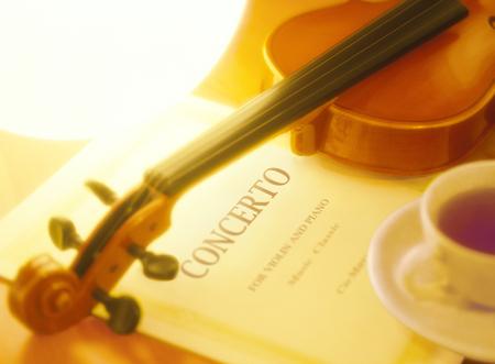 music score: violin and music score