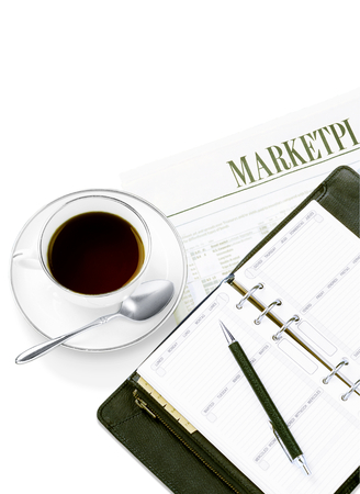 daily newspaper: personal organizer  and newspaper and coffee