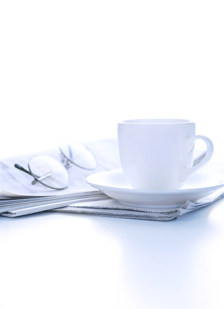 daily newspaper: newspaper and glasses and coffee Stock Photo