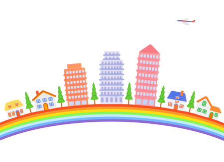 rainbow and cityscape Фото со стока