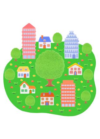 Big tree  and houses