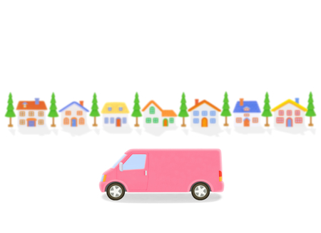 truck and houses