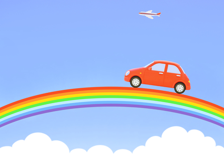 Red car and rainbow