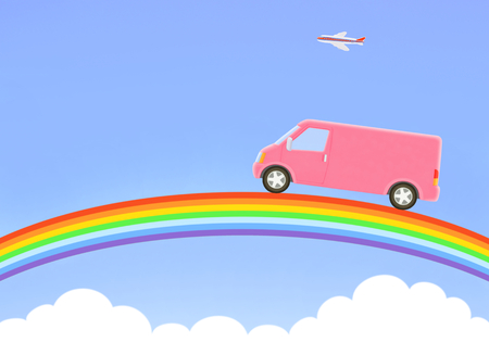 truck and  rainbow