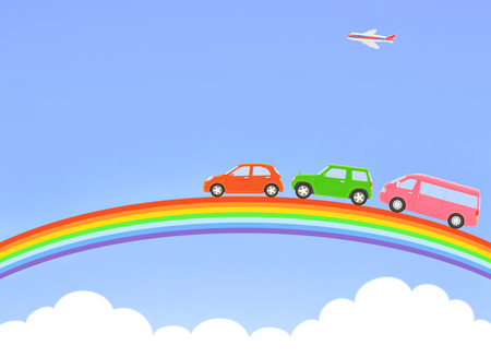 Rainbow and three cars