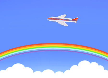 rainbow and airplane