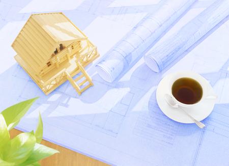 blueprint and model house Фото со стока - 112824082