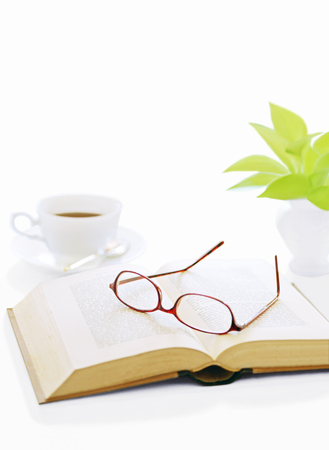 book and glasses  and coffee