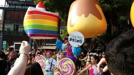 stanley: HONG KONG  November 16 2014  joyous parade during the World of Food  Music Carnival at Stanley Plaza HK Editorial