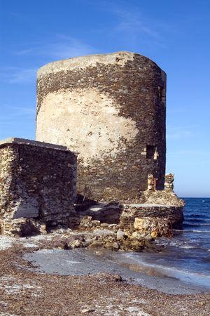 sentry: Sentry serf tower on coast, Sardinia, Stintino - 2 Stock Photo