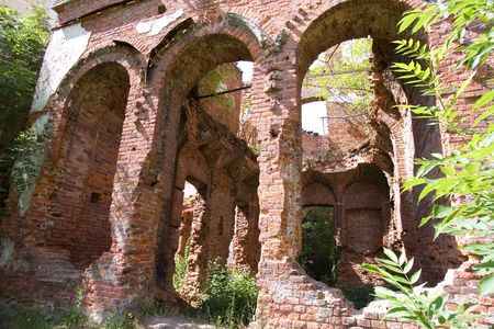 Manors Ruins  in village Gostilitsy, St. Petersburg region, Russia (3) Stok Fotoğraf