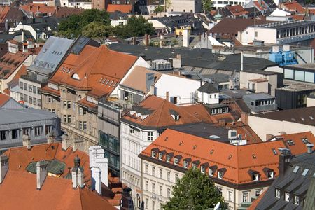 Tile roofs of Munich (Munchen), Germany. View from sacred Peters Church (3) photo