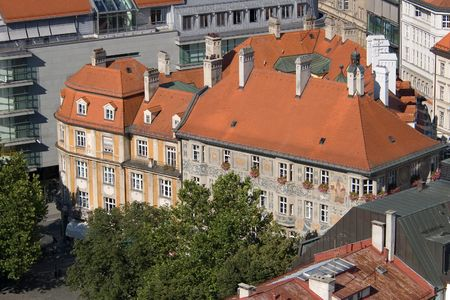 Tile roofs of Munich (Munchen), Germany. View from sacred Peters Church (4) photo