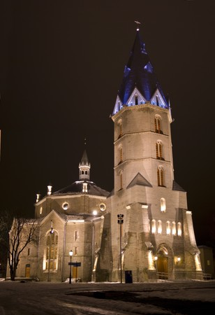 pius: Alexanders  Lutheran church in Narva (1881-1884, architect Otto Pius Gippius), Estonia, night view Stock Photo