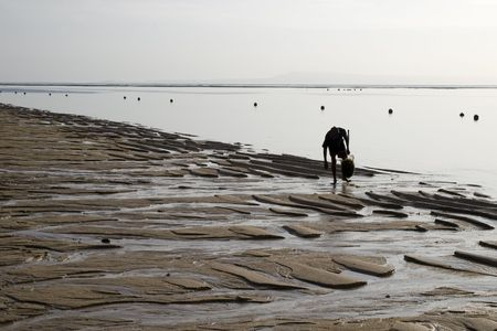 outflow: Collector of seaweed,  Indian ocean beach, outflow, morning, Indonesia Bali Stock Photo