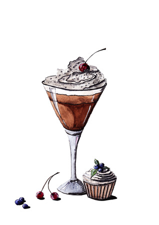 Iced coffee in a glass for Martini with cream and cherry and blueberry cake