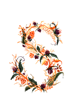 ideograph: The capital letter. Hand drawn floral design. Vector illustrations isolated on white background