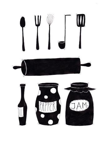 ladles: The kitchenware set.