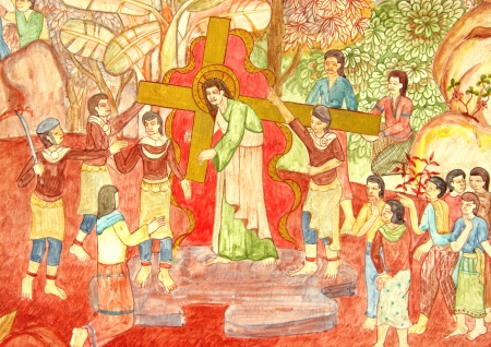 holy week: Christ on the cross-way in thai painting style