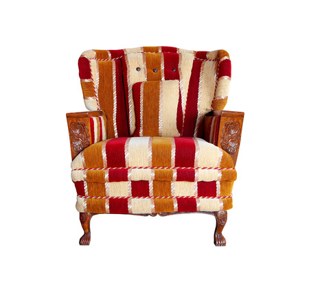 Luxurious fabric armchair on white background photo