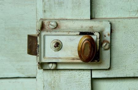 relate: Ancient door lock  on green wood